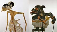 two wayang shadow puppets from the collection